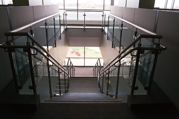 Stainless Steel and Custom Glass Hand Railing